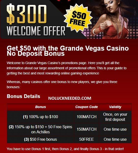 Grande Vegas Casino No Deposit Bonus Codes October 2019