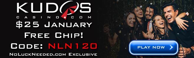 Kudos Casino Freebies 25 Free Chip Coupon January 2020